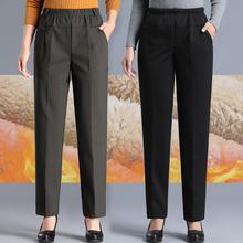羊羔绒in妈裤子女裤he松加绒外穿奶奶裤中老年的大码女装棉裤