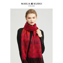 MARinAKURKhe亚古琦红色格子羊毛围巾女冬季韩款百搭情侣围脖男