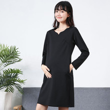 孕妇职in工作服20he冬新式潮妈时尚V领上班纯棉长袖黑色连衣裙