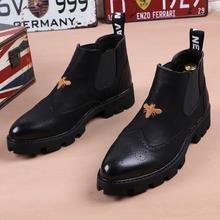冬季男in皮靴子尖头er加绒英伦短靴厚底增高发型师高帮皮鞋潮