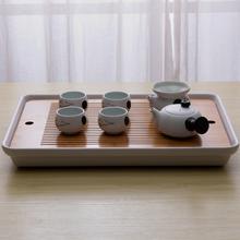 现代简约日款竹in创意家用茶er功夫茶具湿泡盘干泡台储水托盘