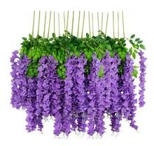 紫藤花in真婚庆垂吊hi内吊顶缠绕装饰紫罗兰花藤假花藤蔓加密