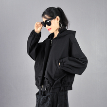 春秋2in21韩款宽hi加绒连帽蝙蝠袖拉链女装短外套休闲女士上衣