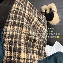 遮胯裙in2020网hi女英伦格子高腰包臀裙中长式毛呢开叉半身裙