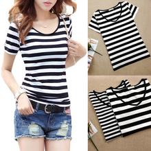 黑白横条纹短袖t恤女装2