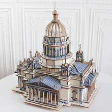 木制成io立体模型减og高难度拼装解闷超大型积木质玩具