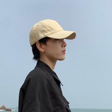 帽子男io的牌夏天韩se纯色舒适软顶鸭舌帽男女士棒球帽遮阳帽