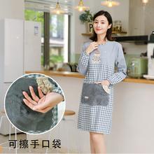 厨房家io时尚可擦手se油可爱日系韩款长袖罩衣大的围腰女