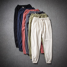 纯色亚ip裤男夏季薄ke裤麻料裤子夏裤宽松棉麻长裤松紧腰男裤