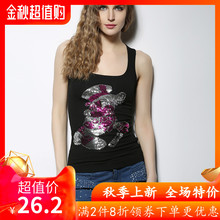 DGVis亮片T恤女be020夏季新式欧洲站图案撞色弹力修身外穿背心