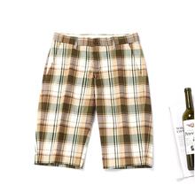 短裤男is分休闲中裤th宽松格子条纹男士沙滩裤夏季休闲裤男潮