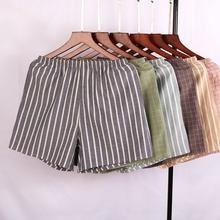 201is新式日系夏th格子女短裤纯棉宽松休闲条纹家居睡裤可外穿
