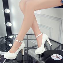 202is春季新式韩ni女防水台漆皮女鞋粗跟高跟鞋一字搭扣女鞋子