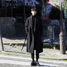 日系男is膝长式加厚ni大衣男潮男士宽松呢外套毛呢子韩款