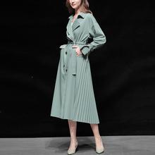 春装女is2020新ym风气质休闲中长式绿色收腰薄式过膝风衣