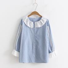 日系(小)is新学院风蕾sz子拼接七分袖格子衬衫女宽松上衣春
