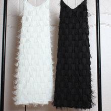 春季2it20新式女ca雪纺V领大码蕾丝性感流苏羽毛吊带连衣裙