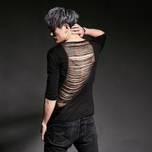 夏季五it袖男欧美潮ee个性韩款修身发型师服装流苏半袖男装