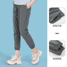 骆驼女装速干裤202it7夏季新式ph收束裤脚舒适休闲通勤九分裤