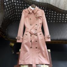 欧货高j2定制202l2女装新长式过膝双排扣风衣修身英伦外套抗皱