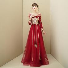 结婚敬j2服一字肩2mr新式新娘孕妇大码中式秀禾酒红色连衣裙嫁衣