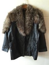 古着vj2ntagemr士皮衣 大码中长式牛皮拼狐毛风衣电脑绣花外套