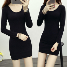 黑色中j3式打底衫春i3式女式长袖t恤女大码内搭修身包臀上衣