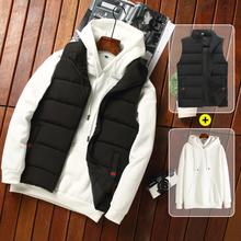 2件装j3男士马甲秋3t款羽绒棉马夹加绒保暖背心男式工装外套潮