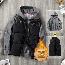 2件装j3冬季男士马3t羽绒棉马夹无袖坎肩背心男式秋冬式外套潮