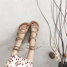 女仙女j8ins潮28g新式学生百搭平底网红交叉绑带沙滩鞋