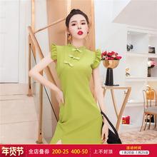 御姐女j8范20208m油果绿连衣裙改良国风旗袍显瘦气质裙子女