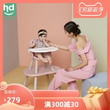 (小)龙哈ja餐椅多功能qu饭桌分体式桌椅两用宝宝蘑菇餐椅LY266