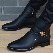 男靴子ja流马丁靴男qu靴皮靴工装靴高帮男士时尚皮鞋韩款冬季