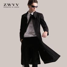 202ja新式风衣男qu士修身长式过膝大衣英伦中长式时尚潮流外套