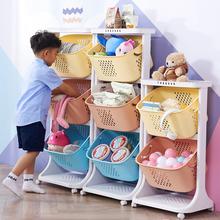 宝宝玩ja收纳架书柜qu架塑料储物架宝宝玩具架箱