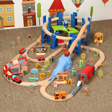 (小)火车ja质轨道环形qu色车库上货机兼容托马斯火车玩具
