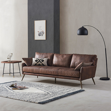 现代简ja真皮沙发 qu皮 美式(小)户型单双三的皮艺沙发羽绒贵妃
