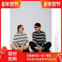 Clajaisgolqu季潮牌街头复古美式条纹宽松圆领短袖t恤男女式tee