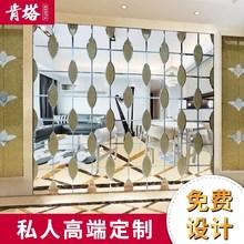 定制装ja艺术玻璃拼qu背景墙影视餐厅银茶镜灰黑镜隔断玻璃