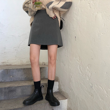 橘子酱jao短裙女学an黑色时尚百搭高腰裙显瘦a字包臀裙半身裙