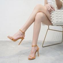 202ja欧美夏季新ai扣带高跟凉鞋女细跟露趾后绊带性感百搭凉鞋