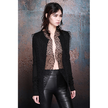 MIAjaHAN原创ai装暗黑冬季新式百搭蕾丝拼接开衫羊毛针织衫