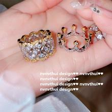 璀璨繁ja 镀18Kai蕾丝戒指 群镶锆石 皇冠组合关节戒套装