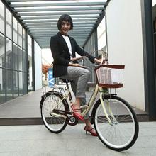 自行车ja轻便成年通es普通老式复古淑女单车24寸26男学生成的