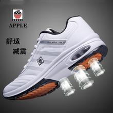 苹果皮ja运动鞋男士es春秋季节纯皮高中生跑步鞋中年学生防臭