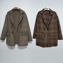 100%羊毛专ja订制欧美休es女款格子大衣短款宽松韩款呢大衣女