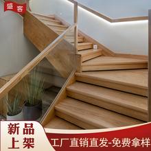 盛客现ja实木楼梯立ep玻璃卡槽扶手阳台栏杆室内复式别墅护栏