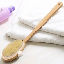 木把洗ja刷沐浴猪鬃ep柄木质搓背搓澡巾可拆卸软毛按摩洗浴刷