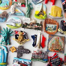 个性创ja欧洲3D立et各国家旅游行国外纪念品磁贴吸铁石