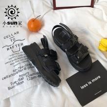 (小)suja家 韩款uqnang原宿凉鞋2020新式女鞋INS潮超厚底松糕鞋夏季
